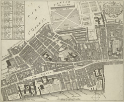 A mapp of the parishes of St. Clements Danes, St. Mary Savoy; with the Rolls Liberty and Lincolns Inn, taken from the last survey with corrections and additions (1704)